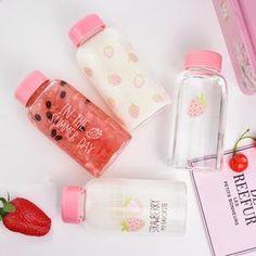 Aesthetic Makeup, Aesthetic Food, Pink Aesthetic, Cute Water Bottles, Drink Bottles, Perfume Bottles, Strawberry Drinks, Food Storage Boxes, Kawaii Room