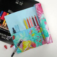 Pencil Roll Art Organizer Floral Pencil RollUp by TwiggyandOpal,