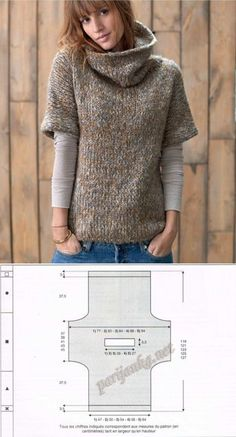 Crochet Patterns Sweaters Pullover (g) 27 * 43 PHIL Cardigan Pattern, Crochet Cardigan, Knit Vest, Poncho Sweater, Easy Knitting, Knitting Socks, Knit Fashion, Fashion Outfits, Knitting Designs