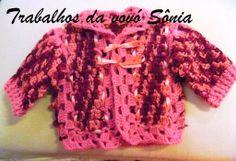 Trabalhos da vovó Sônia: Casaquinho de bebê bloquinhos rosa mescla - croché...