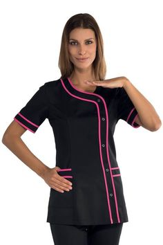 Work tunic Brasilia black and fuschia pink - - Summer Dresses For Women, Suits For Women, Beauty Therapist Uniform, Beauty Salon Uniform Ideas, Chef Dress, Beauty Tunics, Beauty Uniforms, Spa Uniform, Blouse Nylon