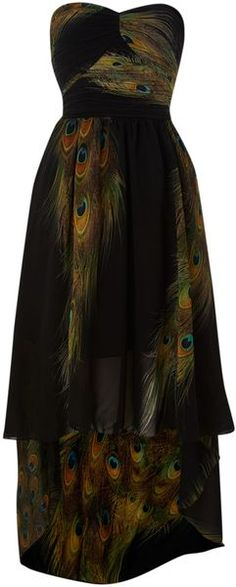 Ax Paris Peacock Print Drop Back Dress