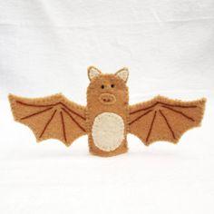 Brown bat, bat, felt finger puppet, animal puppet, storytime puppet