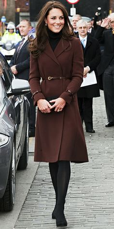February 14, 2012 Kate Middleton celebrated Valentine's Day with a trip to Liverpool, where she wore a chocolate belted Hobbs coat and Kiki McDonough earrings.