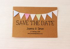 Save the Date Kraft with Bunting