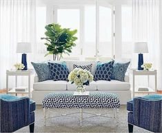 Living Room Design : Navy And White Family Room Living Decoration Of Light Blue D Decoration Of Light Blue Living Room Design ~ Something-fishy Coastal Living Rooms, New Living Room, Blue Living Room Decor, Hamptons Living Room, Cottage Living, Cozy Cottage, Small Living, Modern Living, Blue And White Living Room