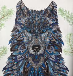 Wolf - The Menagerie Animal Portraits to Color - colored by C.Ishii