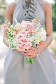 Gorgeous greys, pinks and greens #bouquet | Nocatee, Florida Wedding from J. Layne Photography  Read more - http://www.stylemepretty.com/florida-weddings/2013/10/23/nocatee-florida-wedding-from-j-layne-photography/