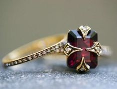cathy waterman rings - garnet and diamonds