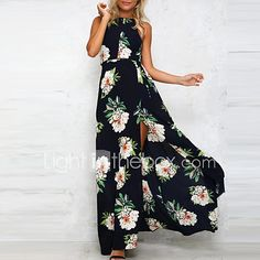 Women's Party Vintage Sophisticated Swing Dress,Print Halter Maxi Sleeveless Rayon Polyester All Seasons High Rise Micro-elastic Medium 2017 - $9.59