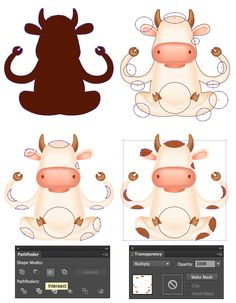 How to Create a Meditating Cartoon Cow in Adobe Illustrator Adobe Illustrator, Photoshop For Photographers, Photoshop Photography, Photoshop Tutorial, Photoshop Actions, Cartoon Cow, Mascot Design, Affinity Designer, Kids Logo