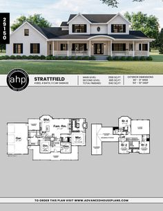 Two Story House Plans, New House Plans, Dream House Plans, Small House Plans, House Floor Plans, Modern Farmhouse Exterior, Farmhouse Design, Future House, 6 Bedroom House Plans