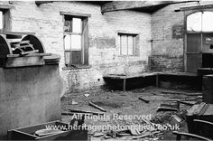 Radcliffe, Sam Walker's Foundry 1970s      Part of the pattern shop where wooden patterns of machine parts were made ready for creating castings in the iron foundry. It is a sad scene but odd bits of wooden patterns can be seen bottom left in the box, and immediately above it