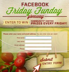 Enter the Friday Funday Giveaway to win weekly prizes! https://apps.facebook.com/friday-funday/