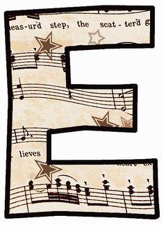 "ArtbyJean - Vintage Sheet Music Alphabet ""E"" Vintage Sheet Music, Vintage Sheets, Theme Mickey, Music Letters, Make Your Own Card, Little Bit, Music Party, Elementary Music, Music Classroom"