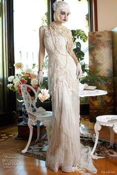 Exquisite inspired Mademoiselle Vintage wedding dresses from YolanCris, part of the Seven Promises 2013 bridal collection. Vintage Style Wedding Dresses, 2015 Wedding Dresses, Vintage Gowns, Wedding Attire, Wedding Styles, Wedding Gowns, Dresses 2013, Gatsby Wedding, Vintage Dress