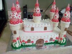 Homemade Princess Birthday Cakes | Homemade Princess Castle Birthday Cake. Pink, Purple Colors for the Cones