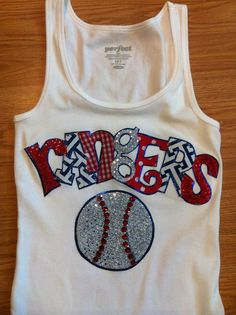Custom Sports Team Rangers Baseball Appliqued Tank/tee shirt