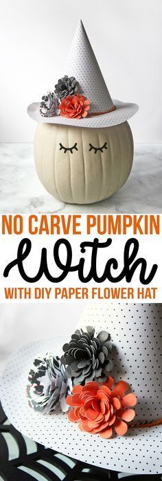 This no-carve pumpkin decorating idea features an adorable witch with a floral and polka dot hat made of paper. Easy and cute Halloween pumpkin decorating ideas. #pumpkincarving #pumpkindecorating #nocarvepumpkins #halloween2017 #halloween