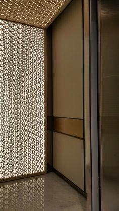 Custom LED elevator wall panel with print Lift Design, Cabin Design, Door Design, Wall Design, Lobby Interior, Interior Windows, Interior Lighting, Interior Architecture, Elevator Design