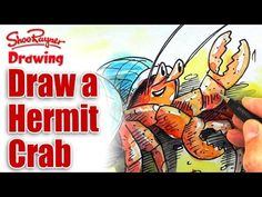 How to Draw a Hermit Crab by illustrator Shoo Rayner- featured at KidLit.TV