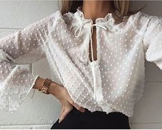 Bows & dots & VERY undershirt-worthy. Our #ToplessTee by #Annienymotee would protect this gorgeous blouse between washings/dry-cleanings.