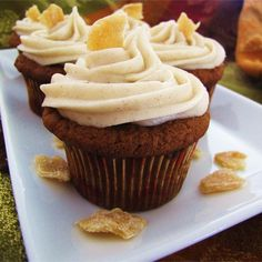 "Pumpkin Ginger Cupcakes | ""Delicious, light and fluffy! These taste of Fall, and the crystallized ginger gives then a lovely little zing. Even people who don't like pumpkin love these cupcakes. These disappear as fast as I can set them out!"""