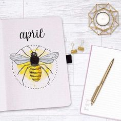 Bee and honeycomb layouts are increasingly popular this season and I wanted to show it off. Here are 16 bee and honeycomb themed bullet journal layouts. April Bullet Journal, Bullet Journal Themes, Bullet Journal Spread, Bullet Journal Layout, Bullet Journal Inspiration, Bullet Journals, Journal Covers, Journal Pages, Journal Ideas