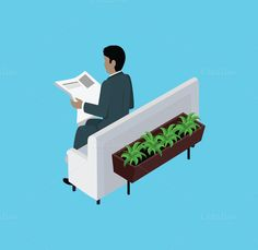 Isometric Man Reading Newspaper by robuart on @creativemarket