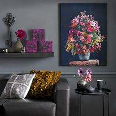 Bright multi-coloured flower bouquet - printed canvas art   Graham and Brown