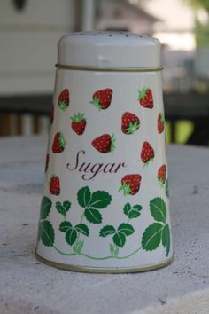 Larger Tin Strawberry Sugar Shaker by embraceTHEeclectic on Etsy, $12.50