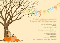 Autumn Arrival Baby Shower Invitation by paperimpressions on Etsy, $25.00