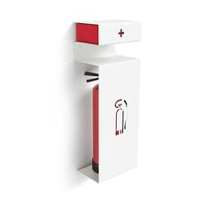 Fire by Formfusion. An unobtrusive powder-coated steel bracket conceals a fire extinguisher and a first aid kit but provides easy access in case of an emergency.