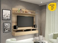 Vela Sahara 1 tone floating TV wall unit can change your TV viewing experience. Tv Unit Design, Tv Wall Design, Tv Furniture, Furniture Design, Tv Showcase Design, Tv Wall Panel, Small Tv Cabinet, Small Tv Unit, Tv 32
