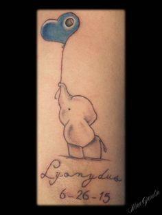 Elephant Heart Name Memorial - Tattoo by Nina Gaudin of 12th Avenue Tattoo in Nampa, ID