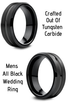 The Modern Bold Mens Wedding Ring. This black tungsten wedding ring features a carved center polished channel and a satin textured top. He really wants a black wedding ring and this one is amazing looking. I think he would really like it! #mensweddingrings #mensweddingbands #blackweddingrings