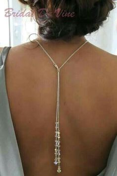 Bridal Backdrop Neckless Backless Dress Lariat - Made with Swarovski Crystals in Clothes, Shoes & Accessories, Wedding & Formal Occasion, Bridal Accessories Back Jewelry, Prom Jewelry, Wedding Jewelry, Wedding Necklaces, Silver Jewellery, Silver Necklaces, Jewelry Sets, Antique Jewelry, Jewlery