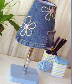 Reciclagem de abajur usando jeans | Artesanato na Prática