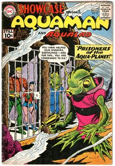 1961 Showcase Silver Age Re-Launch of Aquaman and Aqualad. This predates the eventual solo series and the eventual Justice League of America series that started in Click PIN to read current new articles & view our latest rare finds! Silver Age Comics, Dc Comic Books, Comic Book Covers, Aquaman Dc, Robert E Howard, Film D'animation, Classic Comics, Vintage Comics, Cover Art