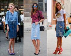 Saia Lápis Jeans street style