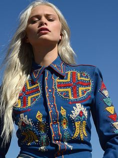 Vintage Western Shirt | Featuring colorful embroidery detailing, this vintage western blouse has button closures down the front and rhinestone accents.  *Vintage pieces should be handled with love. Dry Clean or Hand Wash.