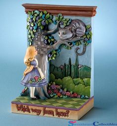"""Yesterday I mentioned that we received Jim Shore figurines in and today we received another which is part of the Jim Shore Heartwood Creek collection. It is a Jim Shore Alice in Wonderland and Cheshire cat figurine titled """"Which Way. Alice In Wonderland Figurines, Alice In Wonderland Crafts, Adventures In Wonderland, Wonderland Party, Alice In Wonderland Merchandise, Hades Disney, Disney Love, Disney Magic, Disney Stuff"""