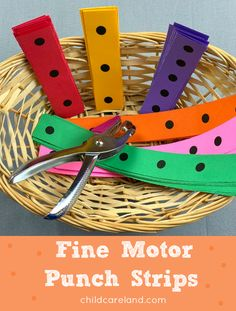 Fine motor punch strips for fine motor and eye-hand coordination skills. Toddler Fine Motor Activities, Preschool Fine Motor Skills, 4 Year Old Activities, Early Learning Activities, Motor Skills Activities, Gross Motor Skills, Montessori Activities, Infant Activities, Space Activities