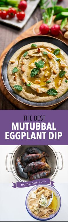 Mutabbal, not to be confused with Baba Ganoush is a delicious Levantine meze made with char-grilled eggplant, tahini, lemon juice and garlic. Easy step-by-step recipe for this party favorite. #meze #dip #partyplatter #eggplant
