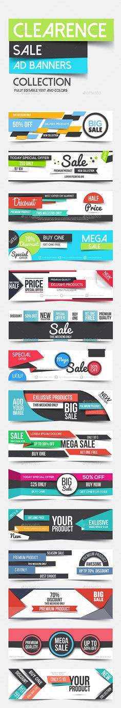 Collection of Clean Flat Vector Advertising Web Banners Template EPS, AI #design Download: http://graphicriver.net/item/collection-of-clean-flat-advertising-web-banners/12068074?ref=ksioks