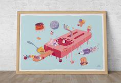 Ice cream planet by Héctor Delgado #loschicosdealabama #laminas #prints