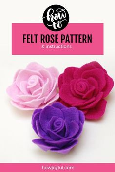 How to make a Rose felt flower - Tutorial, and pattern by Joy Kelley fromFelt crafts unicorn and Felt Stitching Crafts.Simple and useful crafting - try making felt craft projects. Felt Flower Template, Felt Flower Tutorial, Rose Tutorial, Butterfly Template, Pattern Flower, Felt Flower Diy, Felt Flower Pillow, Felt Flower Wreaths, Flower Paper