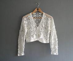 90s Crochet Cardigan Vintage Crop Grunge in by VioletsAtticVintage, £24.00