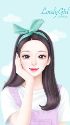 art, girl, and illustration image Cartoon Girl Images, Cute Cartoon Girl, Anime Girl Cute, Beautiful Anime Girl, Anime Art Girl, Beautiful Beautiful, Beautiful Images, Cute Girl Drawing, Cute Drawings
