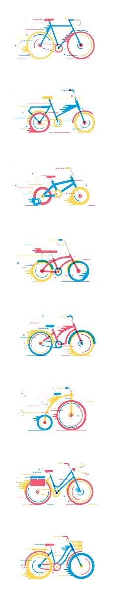 Bikes by Daniel Gonzalez Illustrations, Flat Illustration, Graphic Design Illustration, Icon Design, Design Art, Logo Design, Inspiration For Kids, Design Inspiration, Bike Logo